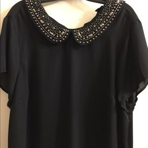 Torrid jeweled Peter Pan collared top